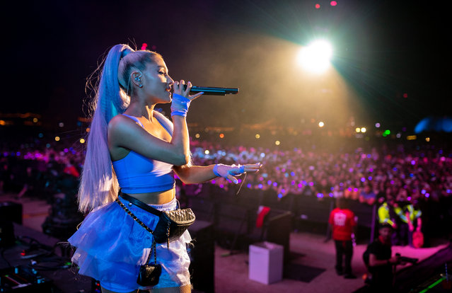 Ariana Grande performs with Kygo onstage during the 2018 Coachella Valley Music And Arts Festival at the Empire Polo Field on April 20, 2018 in Indio, California. (Photo by Christopher Polk/Getty Images for Coachella)