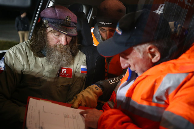 Fedor Konyukhov discusses the deprture procedure in the warmth of a vehicle Northam Aero Club on July 12, 2016 in Northam, Australia. (Photo by Paul Kane/Getty Images)