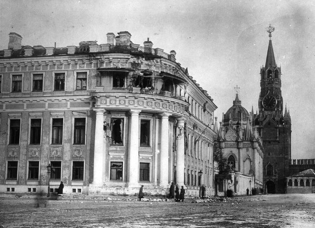 Tsar Nicholas II's palace in Moscow, damaged during the Russian Revolution, 1917.