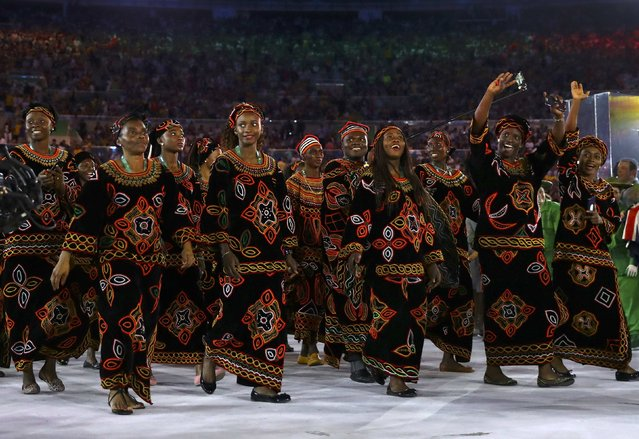 2016 Rio Olympics, Opening ceremony, Maracana, Rio de Janeiro, Brazil on August 5, 2016. Cameroon's (CMR) team arrives for the opening ceremony. (Photo by Kai Pfaffenbach/Reuters)