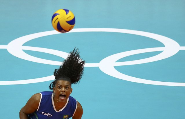 2016 Rio Olympics, Volleyball, Women's Preliminary, Pool A Brazil vs Cameroon, Maracanazinho, Rio de Janeiro, Brazil on August 6, 2016. Fernanda Rodrigues (BRA) of Brazil eyes the ball. (Photo by Marcelo Del Pozo/Reuters)