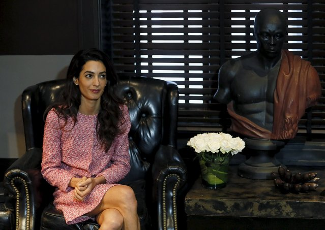 International human rights lawyer Amal Clooney looks on during a meeting with selected media organisations in Sri Lanka, Colombo September 11, 2015. Clooney visited in Sri Lanka after meeting the jailed former president of the Maldives, Mohamed Nasheed, who was convicted of terrorism in a case that has drawn international criticism, a day before a key High Court hearing, in Maldives. (Photo by Dinuka Liyanawatte/Reuters)