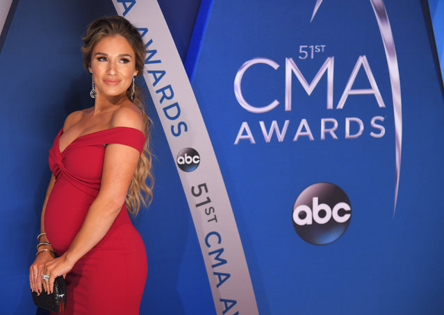 Jesse James Decker pose in the press room at the 51st annual CMA Awards at the Bridgestone Arena on Wednesday, November 8, 2017, in Nashville, Tennessee. (Photo by Harrison McClary/Reuters)
