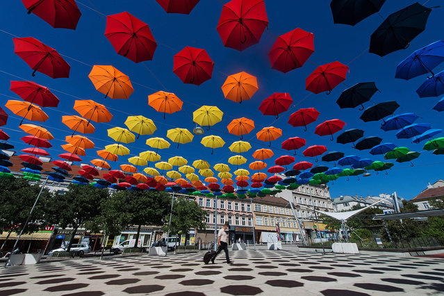 """A man walks under spectral colored umbrellas of the art installation """"REGEN.WALD"""" (rain.forest) in Vienna, Austria, 31 August 2016. The installation is part of the annual cultural projects """"space and place"""" and """"Vienna lives"""". (Photo by Christian Bruna/EPA)"""