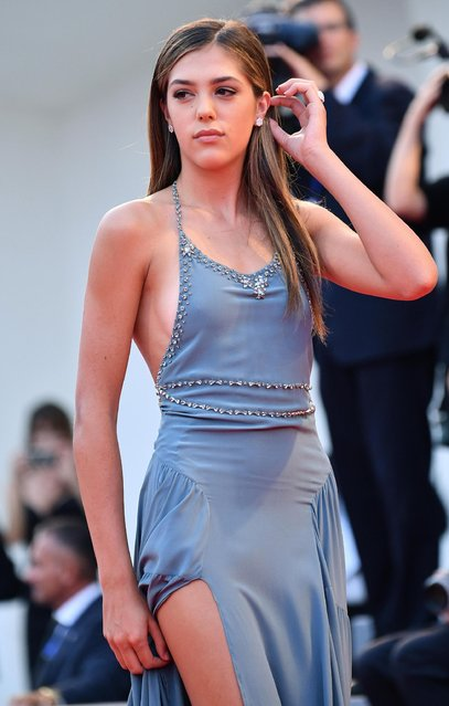 """US model Sistine Stallone, daughter of Silvester Stallone, arrives on the red carpet for """"Hacksaw Ridge"""" at the 73rd annual Venice International Film Festival, in Venice, Italy, Sunday, Sept. 4, 2016. (Photo by Ettore Ferrari/ANSA via AP Photo)"""