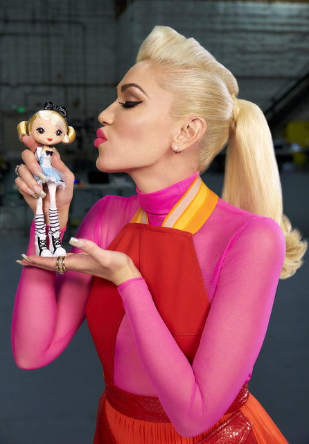 """Super cute"" Gwen Stefani puckers up for a smooch with her new Kuu Kuu Harajuku figure. It's a sneak peek of her pending fashion doll line, which will launch next spring via the Barbie toymaker Mattel. The No Doubt songstress, who is currently dating Blake Shelton, also has an animated series ""Kuu Kuu Harajuku"" on Nickelodeon. (Photo by Mattel/Splash News)"