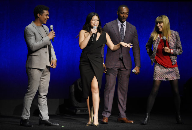 "Catherine Hardwicke, far right, director of the upcoming film ""Miss Bala"", is joined onstage by cast members, from left, Ismael Cruz Cordova, Gina Rodriguez and Anthony Mackie during the Sony Pictures Entertainment presentation at CinemaCon 2018, the official convention of the National Association of Theatre Owners, at Caesars Palace on Monday, April 23, 2018, in Las Vegas. (Photo by Chris Pizzello/Invision/AP Photo)"