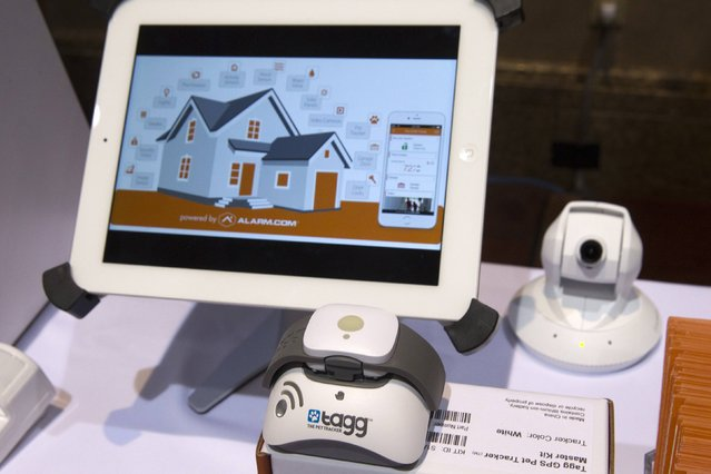 A Tagg pet tracker is shown at an Alarm.com booth during the 2015 International Consumer Electronics Show (CES) in Las Vegas, Nevada January 4, 2015. A new partnership between the companies incorporates pet tracking features with the home automation functions of Alarm.com Apps. (Photo by Steve Marcus/Reuters)