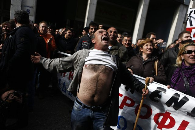 A farmer shouts during a protest outside Greece's Agriculture Ministry in Athens in this November 25, 2014 file photo. (Photo by Alkis Konstantinidis/Reuters)