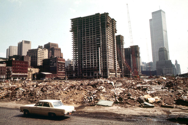 Construction on Lower Manhattan's West Side, just north of the World Trade Center, in May of 1973. (Photo by Wil Blanche/NARA via The Atlantic)