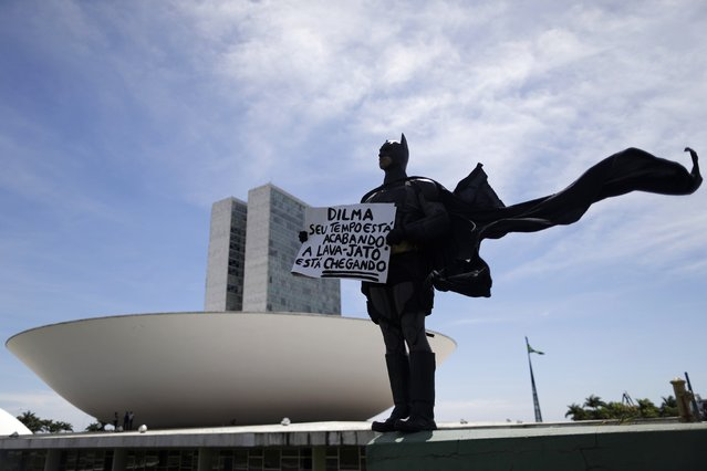 """An anti-government demonstrator dressed as Batman stands in protest against corruption and against the induction of new members of the National Congress in Brasilia. February 1, 2015. Placard reads """"Dilma, your time is running out, the Lava-Jato (Jet wash) Wash is coming"""". Lava-Jato is the name of an operation of the federal police investigating allegations of corruption in the Brazilian Petroleum company, Petrobras. (Photo by Ueslei Marcelino/Reuters)"""