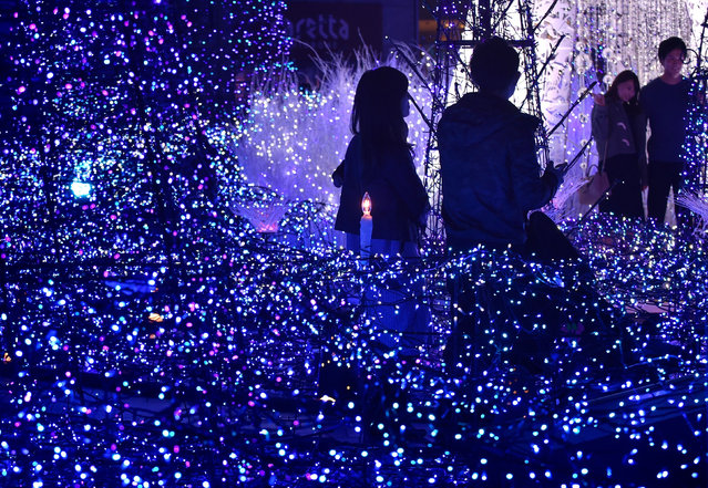 "People admire illuminations featuring the theme of ""Canyon d'Azur"" (Blue Canyon) at Caretta Illumination in Tokyo on November 20, 2016. (Photo by Kazuhiro Nogi/AFP Photo)"