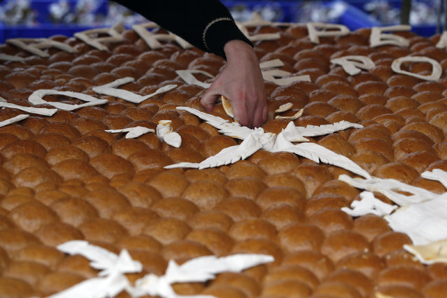 A woman breaks traditional Christmas bread to mark the Orthodox Christmas Day festivities in Belgrade, Serbia, Wednesday, January 7, 2016. Children traditionally scramble for a piece of the bread, searching for a gold coin, hidden inside. (Photo by Darko Vojinovic/AP Photo)
