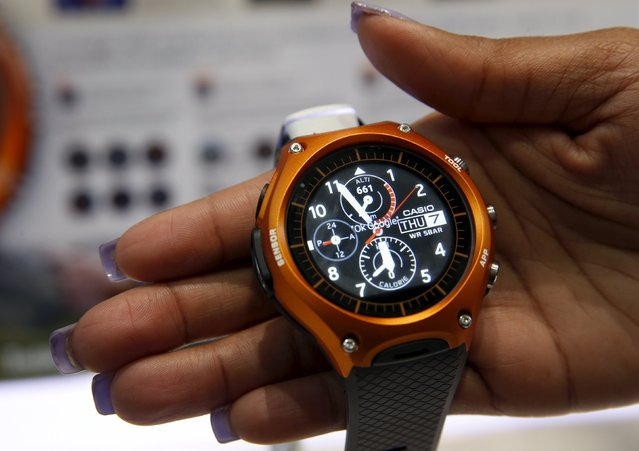 A Casio WSD-F10 Smart Outdoor Watch is displayed during the 2016 CES trade show in Las Vegas, Nevada January 7, 2016. The Android Wear watch, which links with a smartphone, has sensors for air pressure and altitude, and has a built-in accelerometer,  compass and gyrometer. (Photo by Steve Marcus/Reuters)