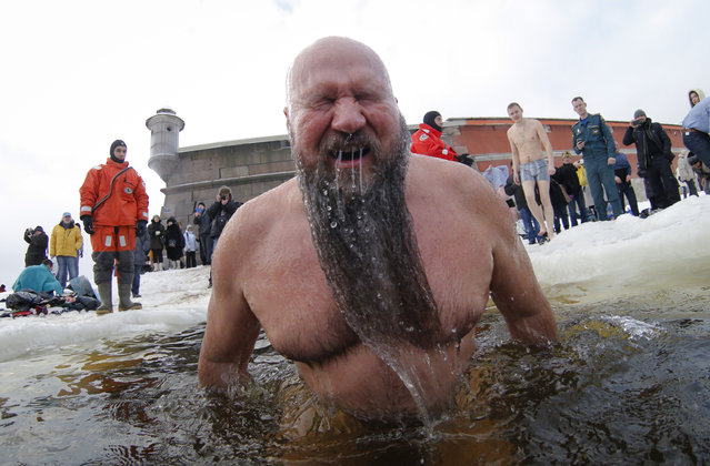 A Russian Orthodox believer bathes in the icy water on Epiphany in the Neva River in St.Petersburg, Russia, Tuesday, January 19, 2016. The temperature in St.Petersburg is minus 5 Celsius (23 Fahrenheit). Thousands of Russian Orthodox Church followers plunged into icy rivers and ponds across the country to mark Epiphany, cleansing themselves with water deemed holy for the day. (Photo by Dmitry Lovetsky/AP Photo)