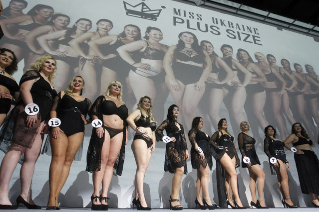 """Contestants compete during the """"Miss Ukraine Plus Size"""" beauty pageant in Kiev, Ukraine on October 29, 2018. (Photo by Pavlo Gonchar/SOPA Images via ZUMA Wire)"""