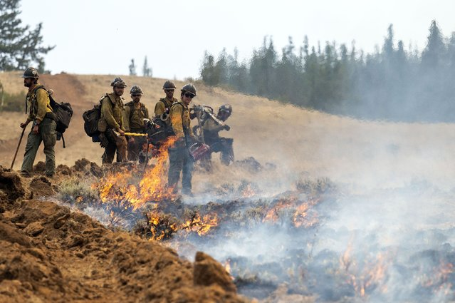 A wildland fire crew looks on after setting a fire line on Harlow Ridge above the Lick Creek Fire, Monday, July 12, 2021, south of Asotin, Wash. (Photo by Pete Caster/Lewiston Tribune via AP Photo)