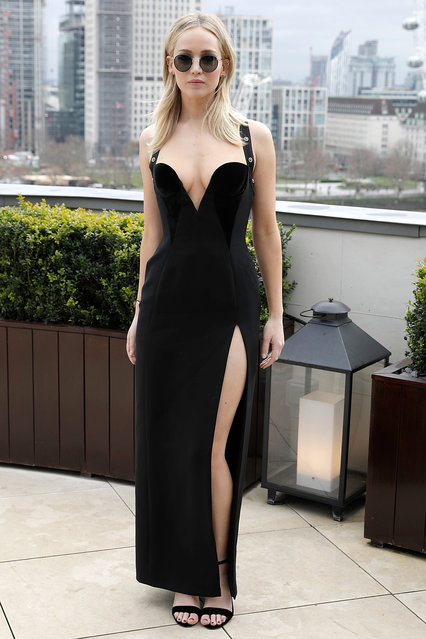 "Jennifer Lawrence during the ""Red Sparrow"" photocall at The Corinthia Hotel on February 20, 2018 in London, England. (Photo by John Phillips/John Phillips/Getty Images)"