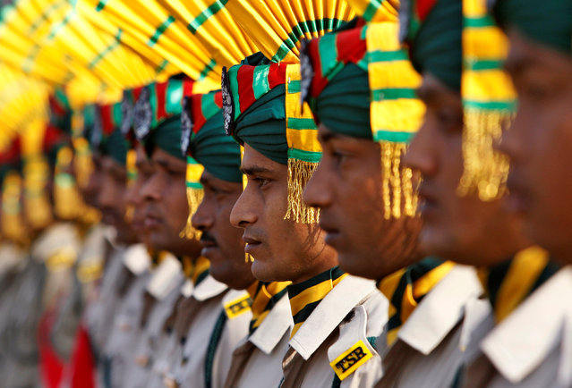Indian paramilitary soldiers take part in a full-dress rehearsal for the Republic Day parade in Agartala, January 24, 2017. (Photo by Jayanta Dey/Reuters)