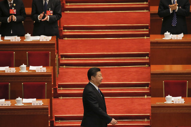 China's President Xi Jinping arrives for the second plenary session of the National People's Congress (NPC) at the Great Hall of the People in Beijing, China, March 9, 2016. (Photo by Damir Sagolj/Reuters)