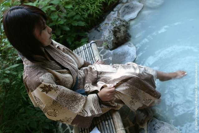 Japanese woman takes a bath