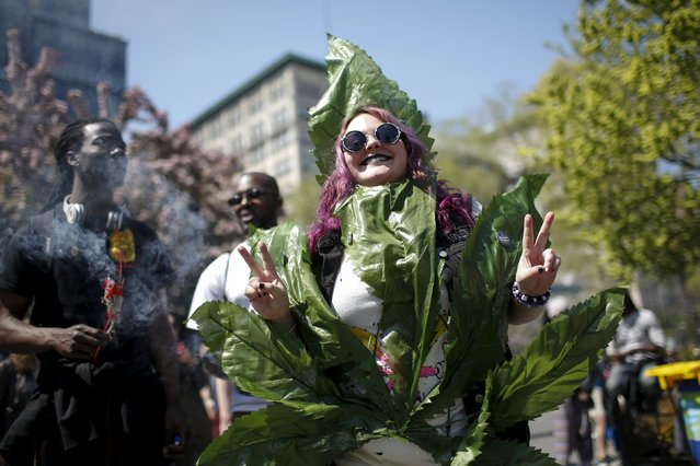 People take part in a rally calling for marijuana to be legalized, at Union Square in New York May 2, 2015. (Photo by Eduardo Munoz/Reuters)