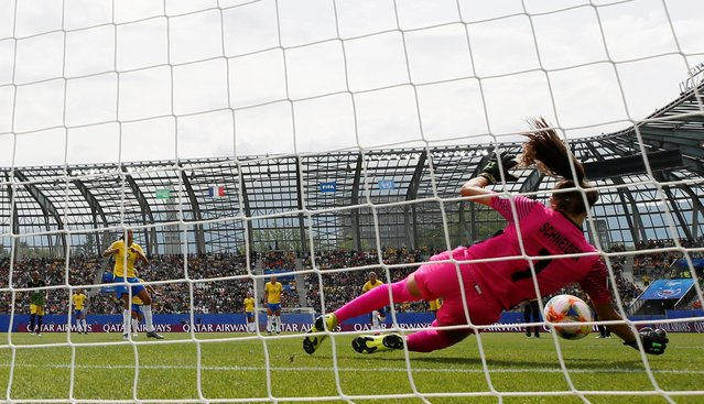 Brazil's Andressa Alves kicks a penalty saved by Jamaica goalkeeper Sydney Schneider during the Women's World Cup Group C soccer match between Brazil and Jamaica in Grenoble, France, Sunday, June 9, 2019. (Photo by Emmanuel Foudrot/Reuters)
