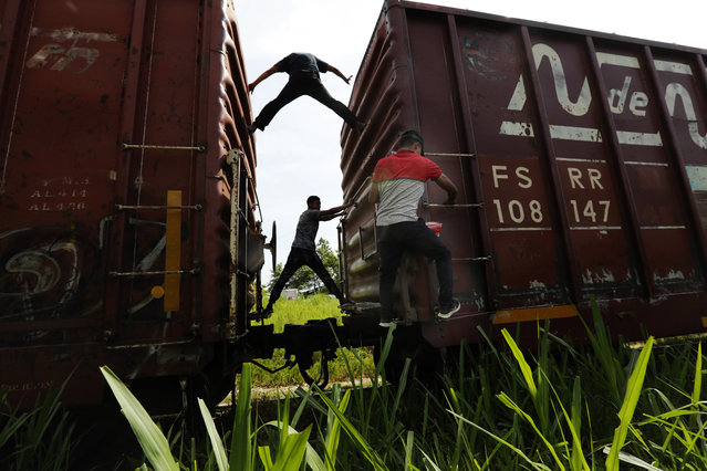 Migrants catch a ride on a freight train on their way north, in Salto del Agua, Chiapas state, Mexico, Tuesday, June 25, 2019. The group's next stop will be Coatzacoalcos, Veracruz state. Mexico has deployed 6,500 National Guard members in the southern part of the country, plus another 15,000 soldiers along its northern border in a bid to reduce the number of migrants traveling through its territory to reach the U.S. (Photo by Marco Ugarte/AP Photo)