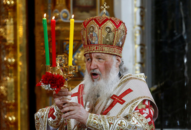 Patriarch of Moscow and All Russia Kirill conducts the Orthodox Easter service at the Christ the Saviour Cathedral in Moscow, Russia, May 1, 2016. (Photo by Sergei Karpukhin/Reuters)