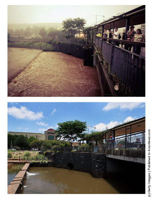 In this composite image (top) flooding is seen in the Toowoomba central business district on  January 10, 2011 and (bottom) the same location as seen on January 5, 2012 in Toowoomba, Australia