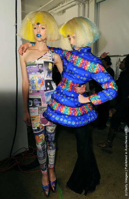 Jeremy Scott backstage at the Jeremy Scott fall 2012 fashion show during Mercedes-Benz Fashion Week at Milk Studios