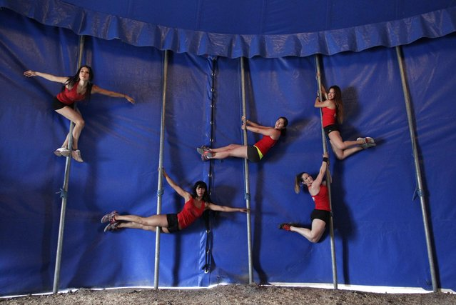 "Women perform a pole dancing routine at a circus during the national day celebration of ""Urban Pole"" dance in Monterrey June 8, 2014. (Photo by Tomas Bravo/Reuters)"