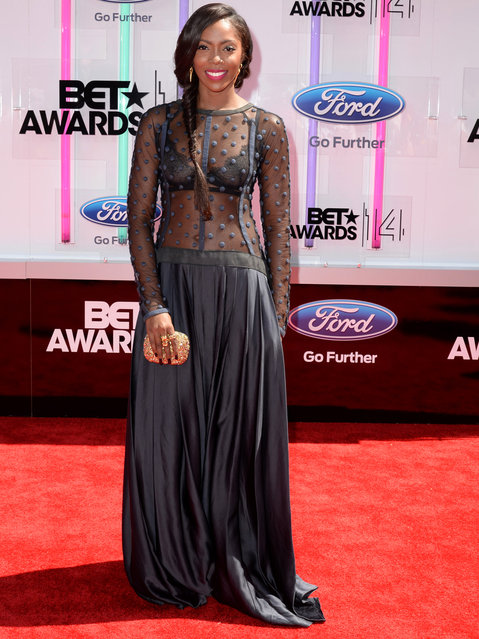 Singer-songwriter Tiwa Savage attends the BET AWARDS '14 at Nokia Theatre L.A. LIVE on June 29, 2014 in Los Angeles, California. (Photo by Earl Gibson III/Getty Images for BET)