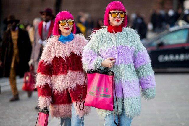 Twins with pink hair seen during the 95th Pitti Uomo at Fortezza Da Basso on January 09, 2019 in Florence, Italy. (Photo by Christian Vierig/Getty Images)