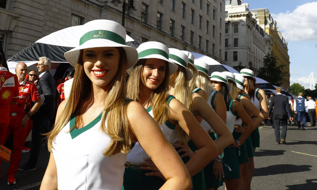 Rolex Grid Girls during F1 Live London at Trafalgar Square on July 12, 2017 in London, England. (Photo by Tee/LAT/Rex Features/Shutterstock)