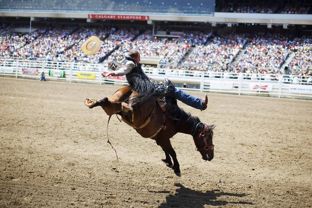 Novice bareback rider Tanner Selinger rides the horse Xtremely Frisky in the novice bareback event during the Calgary Stampede rodeo in Calgary, Alberta, July 5, 2014. (Photo by Todd Korol/Reuters)