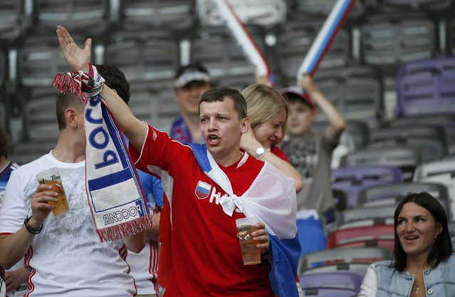 Football Soccer, Russia vs Wales, EURO 2016, Group B, Stadium de Toulouse, Toulouse, France on June 20, 2016. Russian fans before the match. (Photo by Sergio Perez/Reuters)