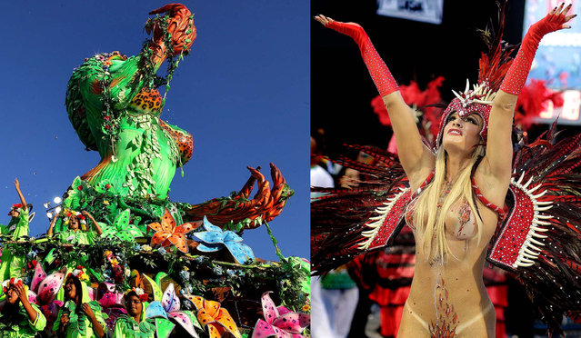 Dancers from the Mancha Verde samba school perform in Sao Paulo