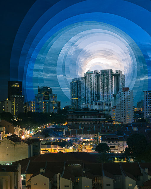 Stacked circles show the passing of time over Singapore's China town. (Photo by Fong Qi Wei/Thoughtful Photography)