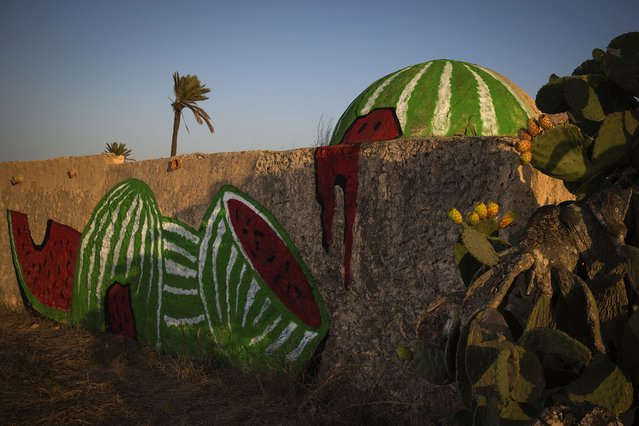 """A mural by Polish artist M-CITY decorates a wall in the surrounding area of the village of Erriadh, on the Tunisian island of Djerba, on August 6, 2014, as part of the artistic project """"Djerbahood"""". (Photo by Joel Saget/AFP Photo)"""