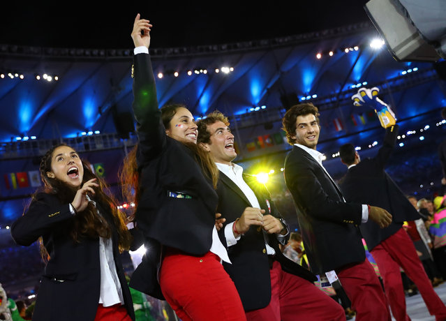2016 Rio Olympics, Opening ceremony, Maracana, Rio de Janeiro, Brazil on August 5, 2016. Chile's team arrives for the opening ceremony. (Photo by Kai Pfaffenbach/Reuters)