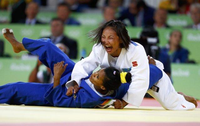 2016 Rio Olympics, Judo, Final, Women, 48 kg Bronze Medal Contests, Carioca Arena 2, Rio de Janeiro, Brazil on August 6, 2016. Otgontsetseg Galbadrakh (KAZ) of Kazakhstan and Dayaris Mestre Alvarez (CUB) of Cuba react. (Photo by Kai Pfaffenbach/Reuters)