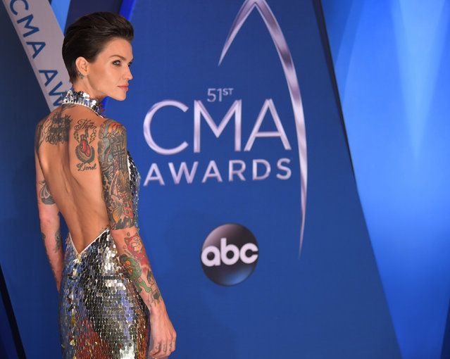 Entertainer Ruby Rose pose in the press room at the 51st annual CMA Awards at the Bridgestone Arena on Wednesday, November 8, 2017, in Nashville, Tennessee. (Photo by Harrison McClary/Reuters)