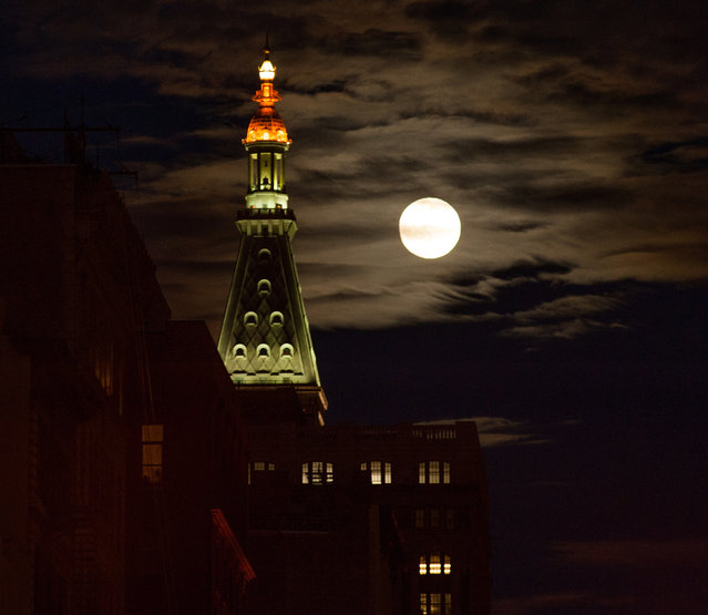 """Full Sturgeon Moon"" Lunar Event in Chelsea, NYC on August 18, 2016. (Photo by Janet Mayer/Splash News)"
