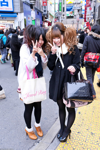 Shy Girls on Shibuya Center Street. Two Shibuya girls whose cute hairstyles caught my attention. I asked if I could street snap them and they said okay, but they were obviously a bit camera shy. (Tokyo Fashion)