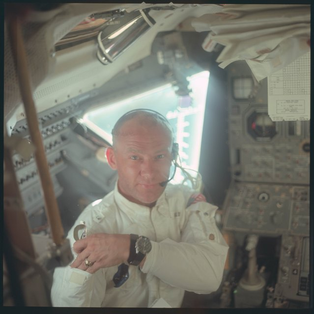 Astronaut Edwin E. Aldrin Jr., lunar module pilot, is pictured in the Apollo 11 Lunar Module (LM) during the lunar landing mission in this July 20, 1969 NASA handout photo. (Photo by Reuters/NASA)