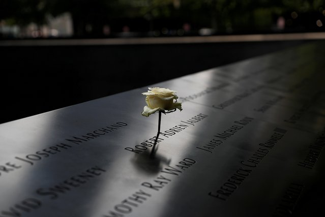 A rose is placed on one of the victims' names at the south reflecting pool of the National 9/11 Memorial, two days before the 19th anniversary of attacks, amid the coronavirus disease (COVID-19) pandemic, in the lower section Manhattan, New York City, U.S., September 9, 2020. (Photo by Shannon Stapleton/Reuters)