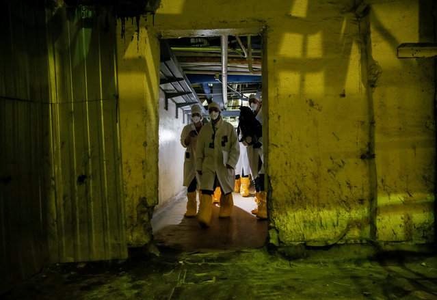 An employee and journalists walk through the corridor of the stopped third reactor at the Chernobyl nuclear power plant in Chernobyl, Ukraine April 20, 2018. (Photo by Gleb Garanich/Reuters)