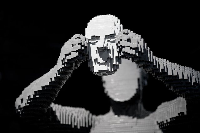 """A man pulling his face off"". (Photo by Nathan Sawaya/The Art of the Brick)"
