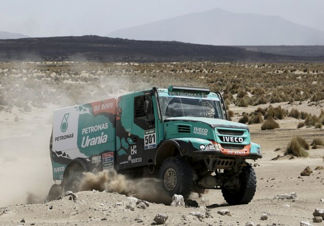 Gerard De Rooy of Netherlands drives his Iveco truck during the Dakar Rally 2016 in Chulluquiani, Oruro Department Bolivia, January 8, 2016. (Photo by David Mercado/Reuters)